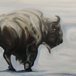 Nathalie Letulle, LONE BISON IN THE SNOW