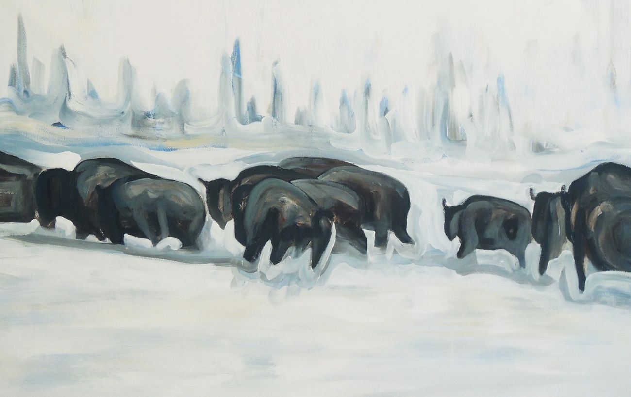 peinture toile BISON BACK TO THE RANCH