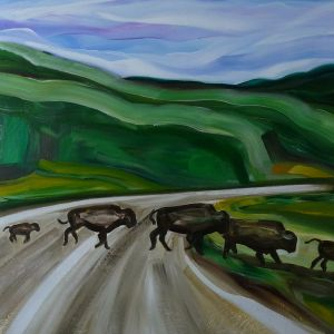 Nathalie Letulle, BISON HERD CROSSING